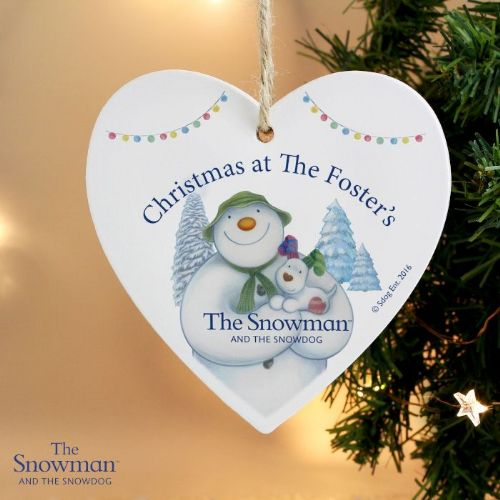 Personalised The Snowman and the Snowdog Heart Decoration